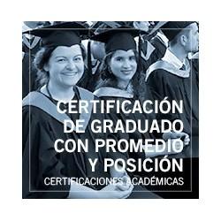 Certificación de graduado con promedio y posición