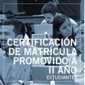 Certificación de matrícula promovido a II año