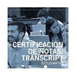 Certificación de notas/ Transcript